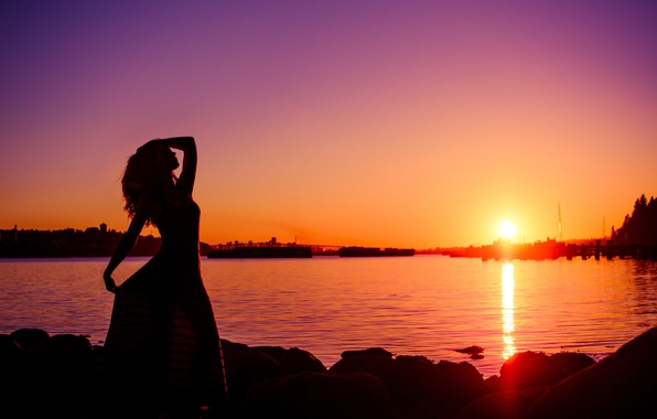 Picture girl, the sun, sunset, the city, river, silhouette