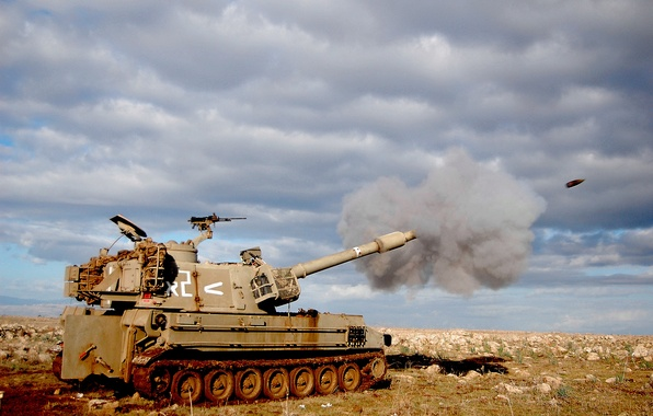 Picture shot, sau, the Israeli defense forces, 155 mm, m109