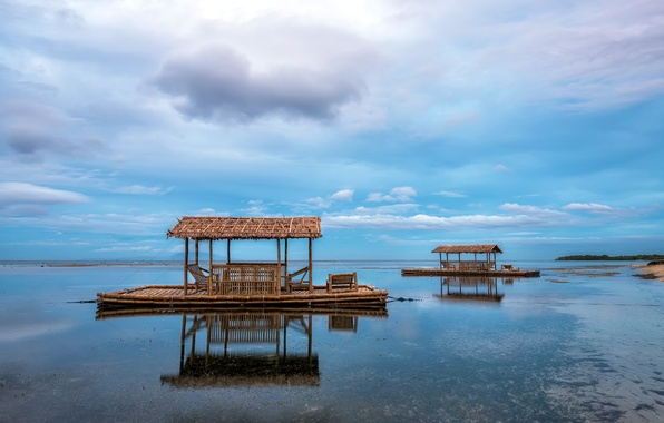 Picture sea, houses, Philippines, Calatagan, Calabarzon