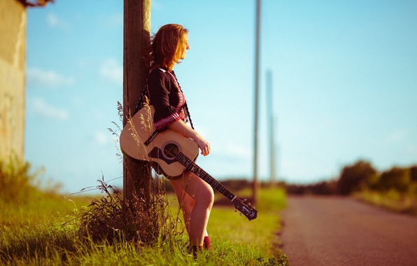 Picture road, girl, music