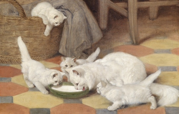Picture cat, picture, family, art, kittens, white, fluffy, Mother and Kittens Drinking Milk, Arthur Heyer