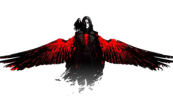 Picture red, the film, black, wings, art, white background, guy, Raven, The Crow, ArsenXC