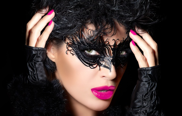Picture brunette, look, mask