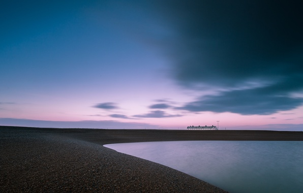 Picture the sky, clouds, sunset, clouds, pink, shore, England, the evening, Bay, UK, houses, away