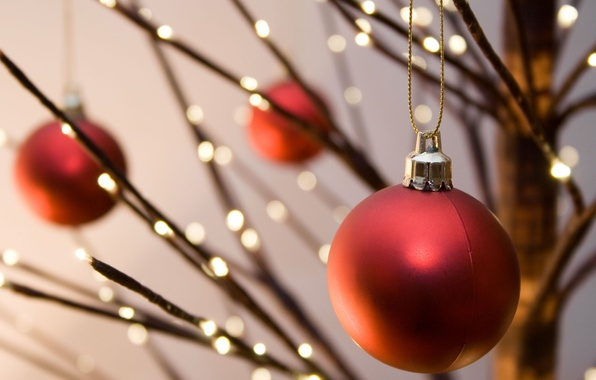 Picture decoration, red, lights, background, holiday, Wallpaper, new year, ball, Christmas, blur, wallpaper, new year, widescreen, …