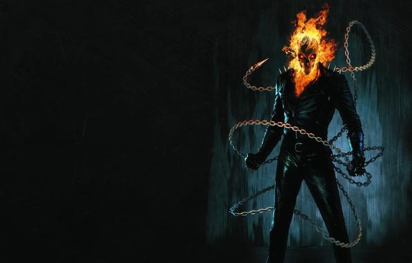 Picture the dark background, fire, chain, skeleton, Ghost Rider, Ghost rider