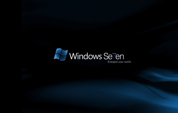 Picture blue, background, black, seven, Windows 7, seven, the program