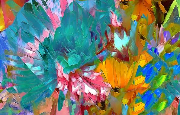 Picture line, flowers, nature, paint