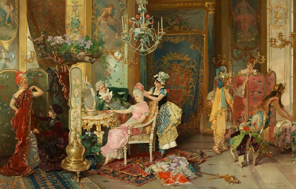 Picture room, ladies, art, painting, Palace, art, Palace, painting, room, training, masquerade, preparation, boudoir, the Cavaliers, …