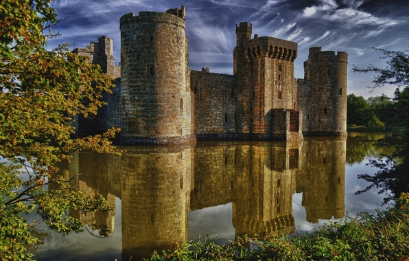 Picture water, medieval, Bodiam Castle