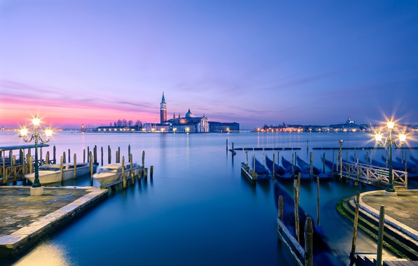 Picture sea, light, sunset, the city, island, Marina, boats, the evening, pier, lighting, lights, Italy, Venice, …
