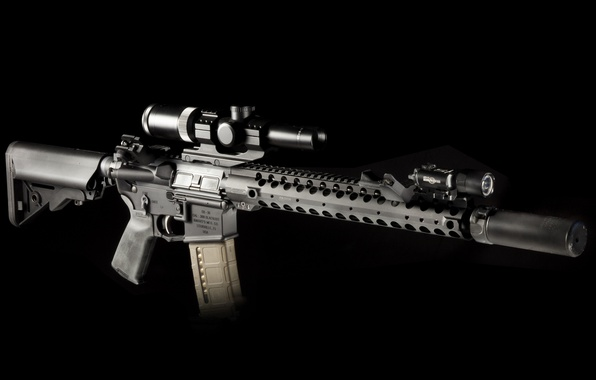 Picture weapons, background, flashlight, optics, rifle, muffler, carabiner, assault, semi-automatic
