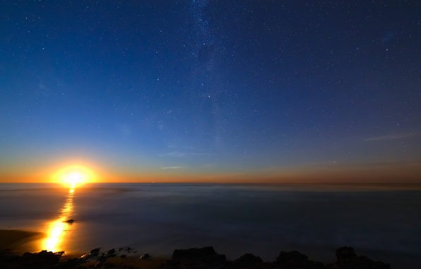 Picture stars, sunrise, the ocean, The sun, The milky way