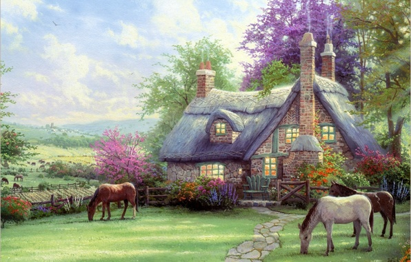 Picture nature, house, horses, house, painting, Thomas Kinkade, painting, horse, Thomas Kinkade, A Perfect Summer Day