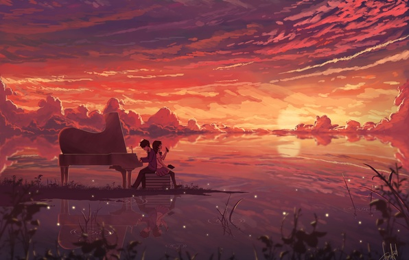 Picture the sky, girl, clouds, sunset, fireflies, anime, headphones, piano, art, guy, notebook, dias mardianto, donsaid