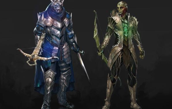 Picture sword, bow, sword, Assassin, mass effect, art, bow, Garrus Vakarian, Thane Krios, Turian Agent, crossbow, …