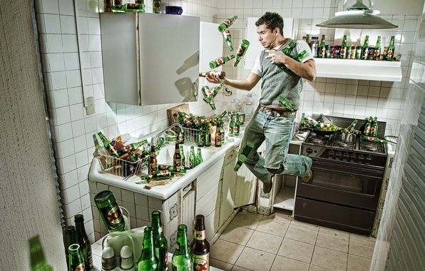 Picture beer, kitchen, plate, bachelor, Man, bottle, Tara