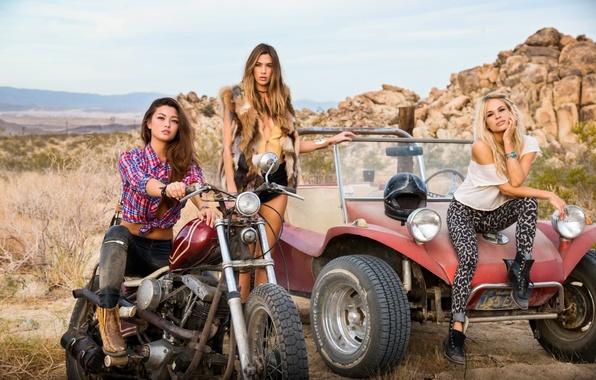 Picture auto, girls, rocks, model, brunette, blonde, motorcycle, brown hair, friend, buggy, dani mathers, chelsie aryn, …