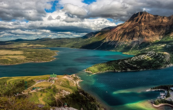 Picture the sky, clouds, mountains, home, Canada, Albert, lake