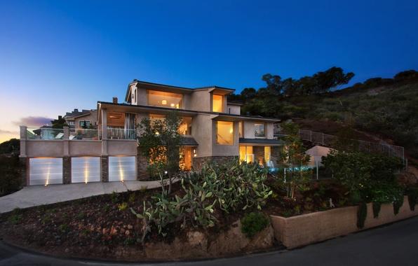 Picture landscape, night, lights, house, USA, mansion, Laguna Beach
