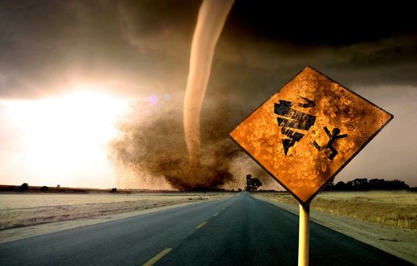 Picture road, overcast, danger, sign, warning, track, storm, index, tornado, tornado