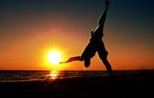 Picture the sun, sunset, nature, Wallpaper, gymnastics