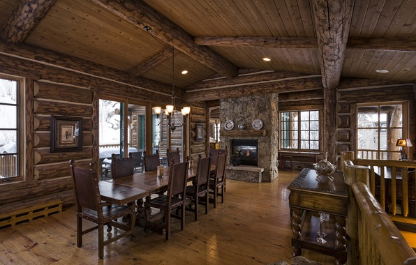 Picture wooden, home, luxury, log, blue sky lodge, dinner room