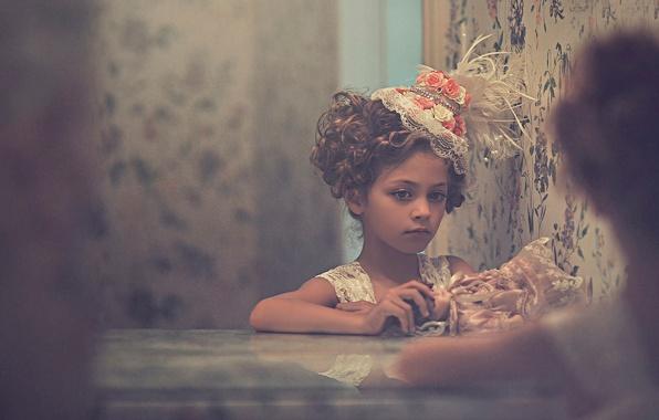 Picture portrait, doll, girl, hat, vintage