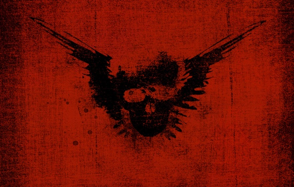 Picture squirt, skull, wings, imprint