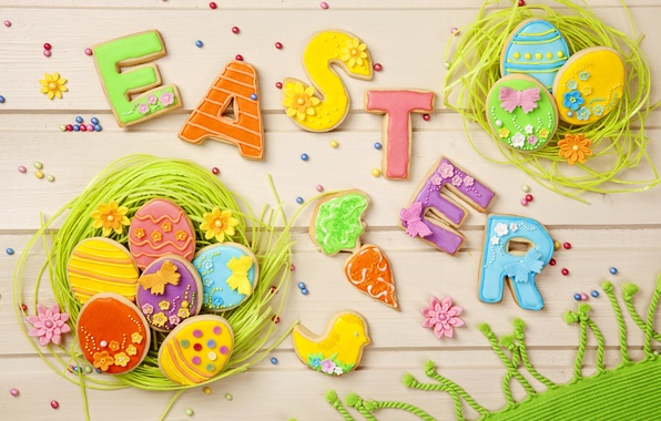 Picture holiday, spring, colorful, cookies, Easter, sweet, glaze, eggs, holiday, easter, cookies, decoration, letters, pastel