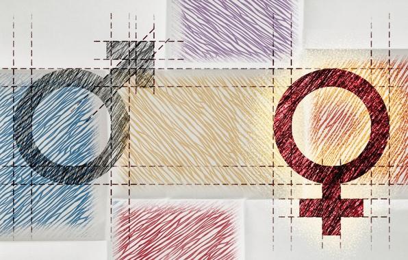 Picture woman, lines, man, symbols