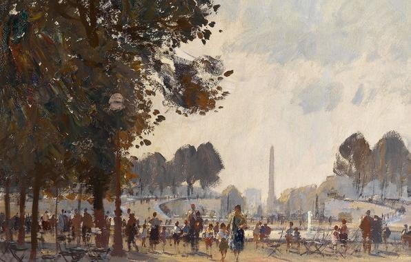 Picture picture, the urban landscape, Edward Seago, Evening. The Tuileries Garden. Paris