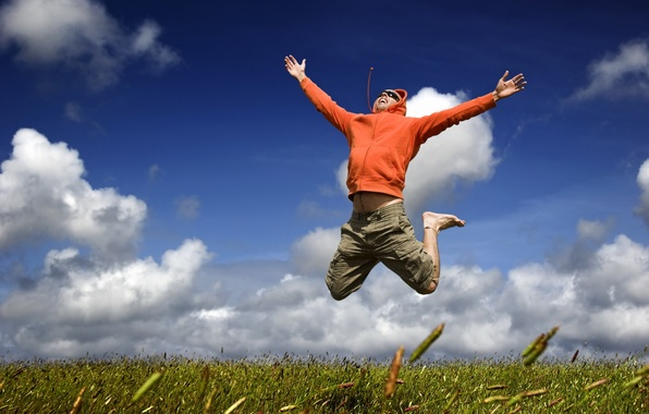 Picture the sky, grass, clouds, flight, joy, happiness, mood, jump, male, guy