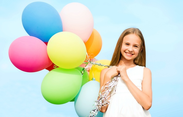 Picture balls, joy, happiness, balloons, colorful, girl, girl, happy, sky, smile, balloons