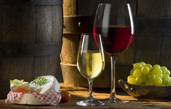 Picture the sun, wine, red, white, shadow, cheese, glasses, grapes, tomato, barrels