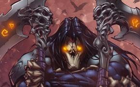 Picture warrior, mask, art, Death, darksiders 2, scythe