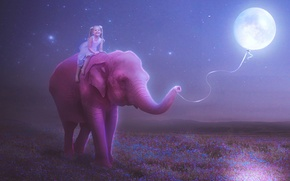 Picture flowers, thread, child, ball, figure, mood, night, stars, girl, smile, pink, the moon, elephant, meadow, ...
