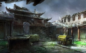 Picture the wreckage, Asia, art, yard, temple, devastation, ruins, installation, Mourad, generator
