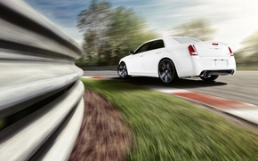 Picture machine, white, speed, track, turn, car, chrysler, Chrysler