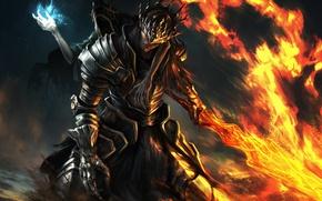 Wallpaper weapons, fire, the game, sword, armor, art, armor, Dark Souls 3