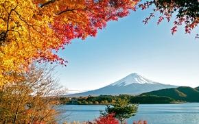 Picture sea, autumn, water, trees, mountains, nature, lake, Fuji