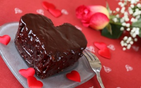 Picture flower, rose, food, chocolate, heart, plate, cake, plate, rose, cake, cake, flower, heart, food, hearts, …