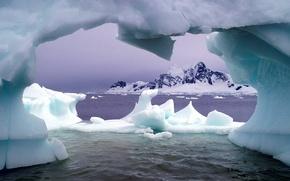 Wallpaper sea, mountains, Ice