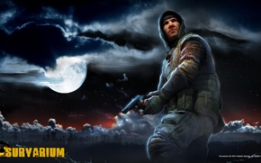 Picture clouds, night, the moon, Church, soldiers, Pripyat, area, stalkers, Survarium