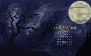 Wallpaper night, tree, the moon, figure, vector, a month, October, cemetery, Halloween, calendar, number, helloween, october