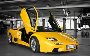 Picture yellow, Lamborghini, diablo, yellow, Diablo, lamborghi