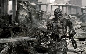 Wallpaper machine gun, the ruins, terminator, the city
