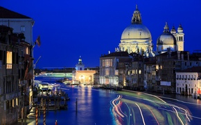 Picture lights, channel, night, Italy, Venice, home, track