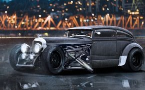 Picture the rain, auto, bridge, the city, lights, engine, lights, wheel, bentley, classic, hot rod, 1931, …