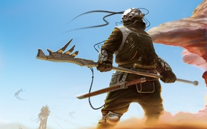 Picture sand, weapons, the wind, wire, sword, warrior, art, helmet